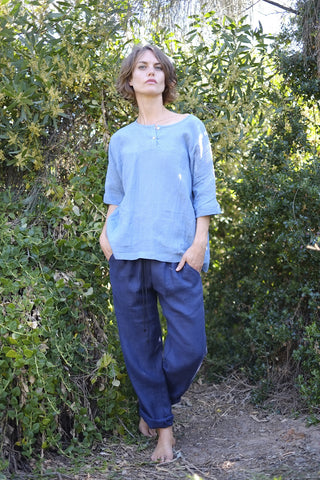 Jai Top - Japanese Linen - Sky Blue