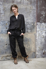 Sebastian Pants Japanese Woven Linen Black