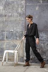 Bay Blouse Italian Black Linen