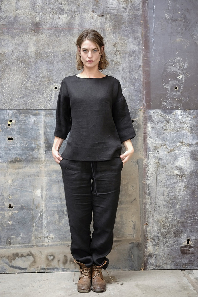 Rouge Top Japanese Woven Linen Black
