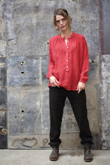 Bay Blouse Italian Linen Tomato Red