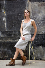 Charlie Dress Japanese Washer Linen Grey