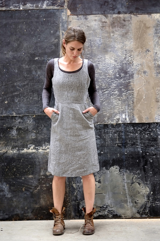Charlie Dress Japanese Washer Linen Charcoal