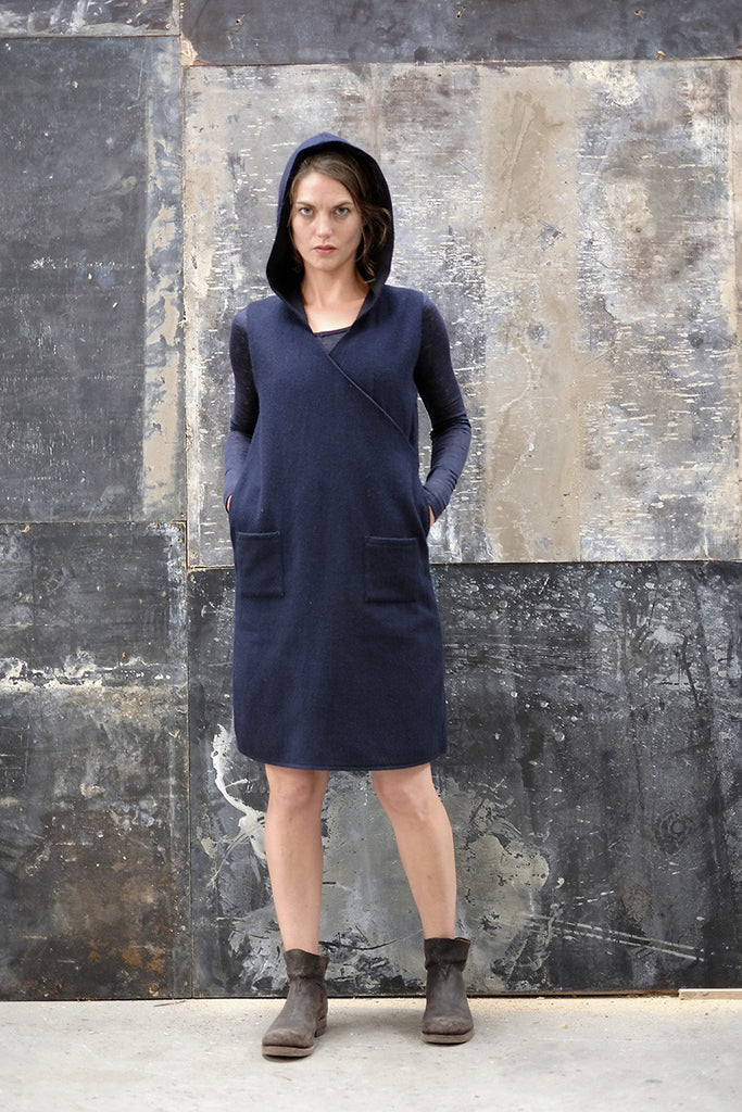 Eski Dress Navy Japanese Wool Cashmere