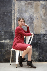 Fami Dress Japanese Wool Knit Bordeaux Red