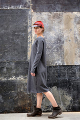 Fami Dress Japanese Wool Knit Charcoal