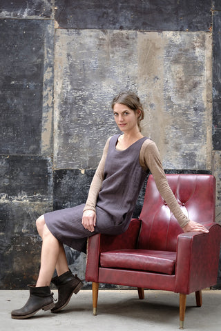 Syd Dress Japanese Washer Linen Charcoal