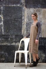 Syd Dress Japanese Washer Linen Coffee