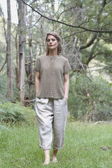 Helen hand knit - moss stitch short sleeve jumper