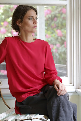 Cerise silk blouse - Red