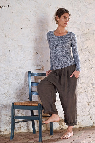 Grandpa Top Cotton Mix Grey / Black Fern