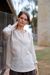 Bay Blouse Japanese Linen Oat
