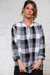 Bay Blouse German Woven Linen Black Grey Check