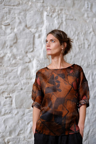 Rouge Top Italian Raw Silk Brown Abstract