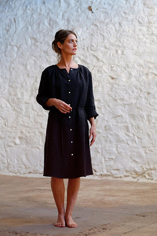 Charles Dress Japanese Washer Linen Coal Black