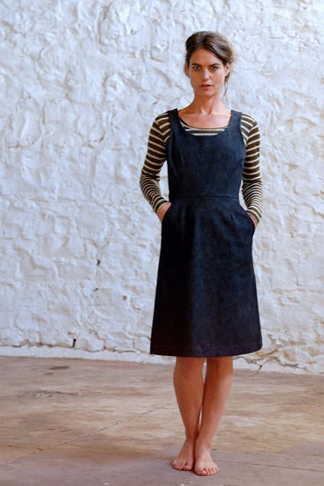 Charlie Dress Italian Stretch Denim Charcoal