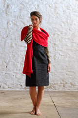 Fibre Red Merino Wool Shawl Bright Red