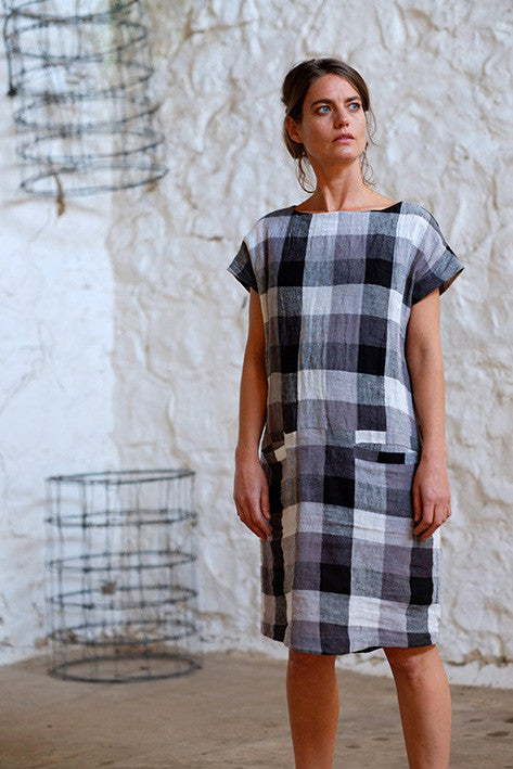 Mario Dress German Woven Linen Black Grey Checked
