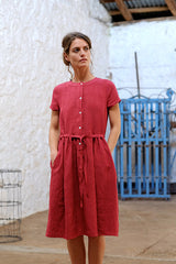 Jaardi Dress Japanese Washer Linen Cherry