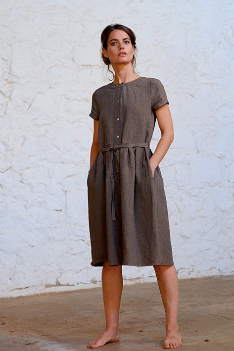 Jaardi Dress Japanese Washer Linen Bark