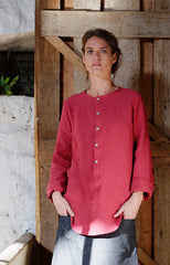 Vivienne Blouse Japanese Washer Linen Cherry