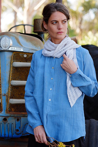 Bay Blouse Japanese Linen Sky Blue