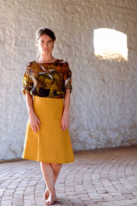 Rouge Top Italian Raw Silk Abstract Gold