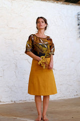 A Line Skirt Japanese Triple Wash Linen Gold