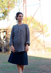 Vivienne Shirt Japanese Washer Linen Bark