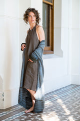 Figi dress - dark olive Japanese linen
