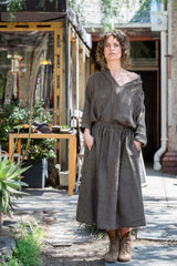 Jaardi skirt - Japanese washer linen dark olive