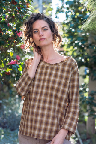 Orli top - Japanese yarn dye cotton mustard tan check