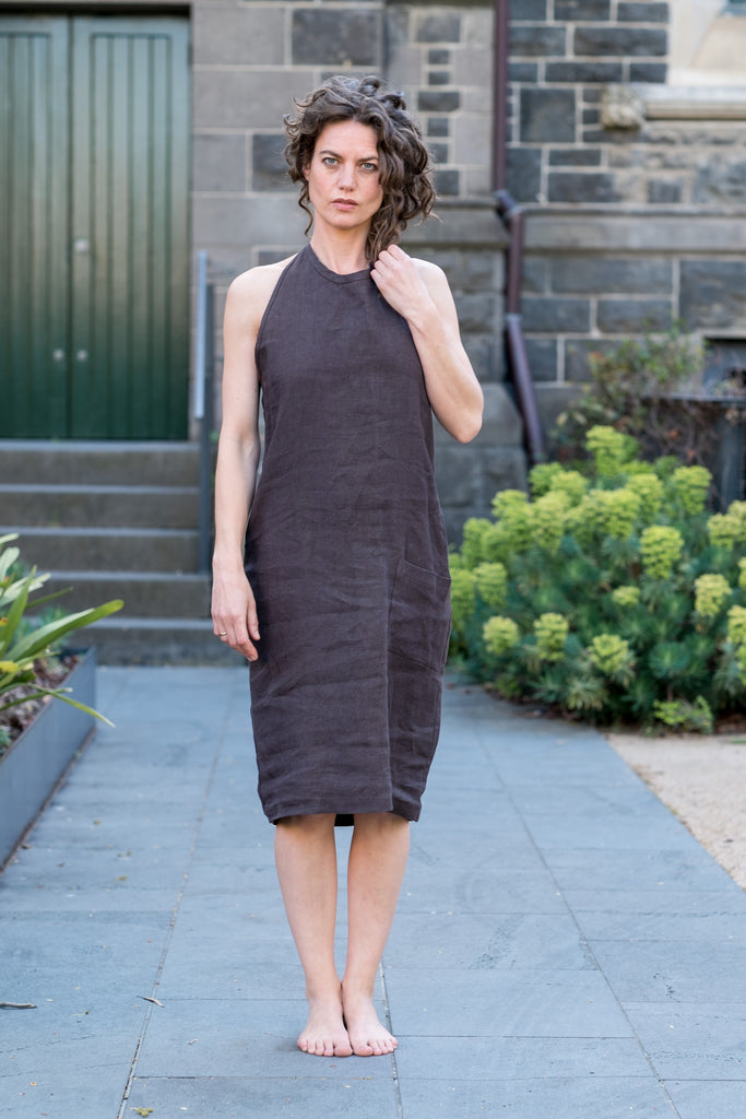 Figi dress - Japanese washer linen chocolate