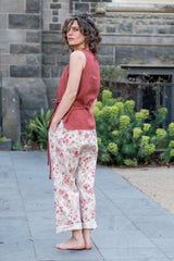 Guide pants - Japanese washer linen red roses