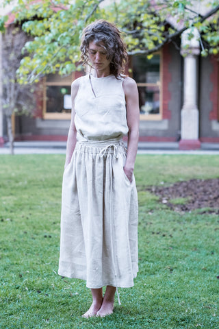 Jaadi skirt - Japanese washer linen natural white