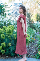 Gideon dress - Japanese washer linen earth red