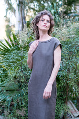Gideon dress - Japanese washer linen dark olive