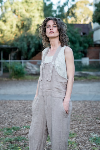 Guide overalls - French linen natural twig