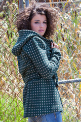 Greta Japanese Wool Green Hooded Jacket