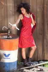 Charlie Dress Cotton Red Leaves