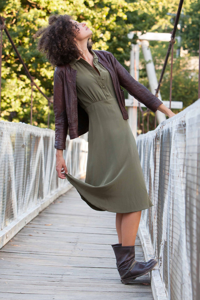 Fern Green Italian Silk Dress