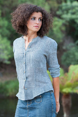 Ronnie Charcoal Linen Blouse
