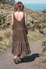 Leila tiered dress / Olive gold