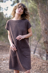 Mario Dress Japanese Pure Wool - Chestnut Brown