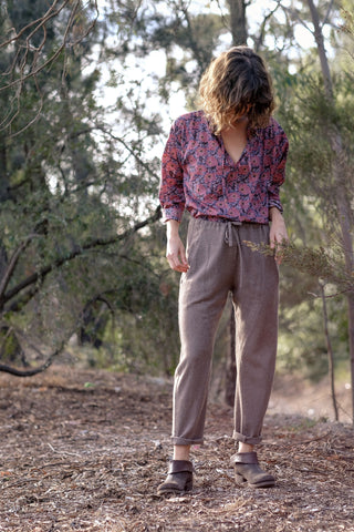 Italian Wool And Linen Track Pants - Moose Colour