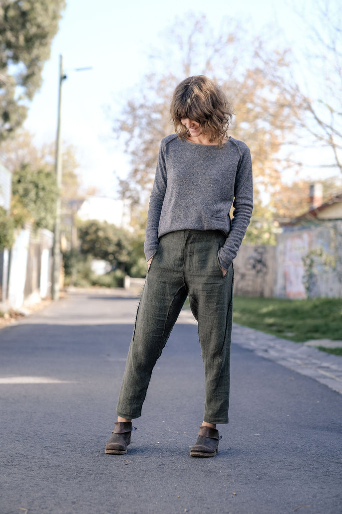Japanese Wool Linen Pants - Moss Green