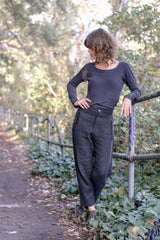 Wool Linen Pants Japanese Wool Linen - Coal