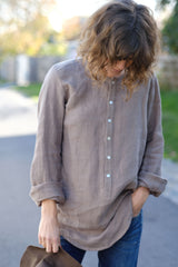 Vivienne Shirt Japanese Washer Linen - Taupe Brown