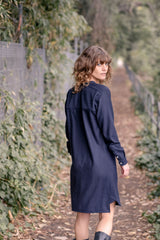 Iggey Shirt Dress Italian Wool - Navy