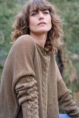 Helen Hand Knit Cable Jumper Italian Linen - Taupe Brown